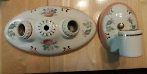 Vtg Art Victorian Ceramic Porcelain Fixture Light Set 1 Sconce 1 Ceiling