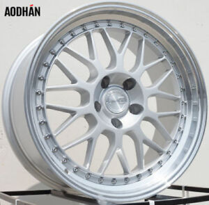 Aodhan Ah02 18x8 5 35 18x9 5 30 5x100 Silver Machined Lip Staggered set Of 4