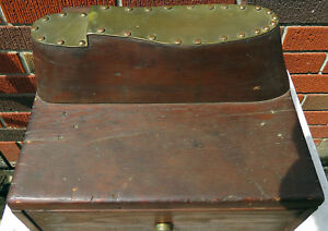 Antique Primitive Wood Brass Shoe Shine Valet Box W Draw Great Old Patina