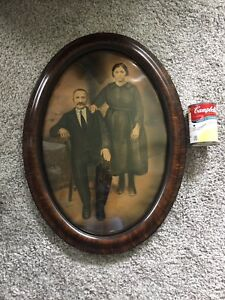 Vintage Antique Big Oval Convex Glass Tiger Frame Wall Photo