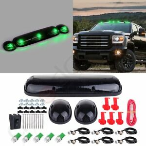 3pcs Smoke Cab Roof Marker Lights T10 Green Led Amber Grille Lamp For Chevy Gmc