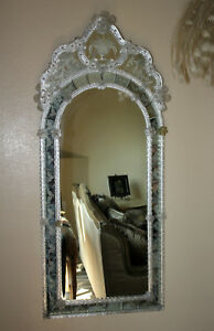 Antique Italian Venetian Murano Mirror W Glass Flowers