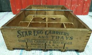 Antique 2 Doz Primitive Wood Star Egg Carriers Trays Mfg Co Rochester Ny