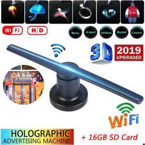 Led 3d Holographic Projector Display Advertising Sign Hologram Player Lamp Fan