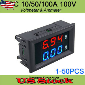 Us Dc 100v10a Voltmeter Ammeter Blue Red Led Amp Dual Digital Volt Meter Gauge