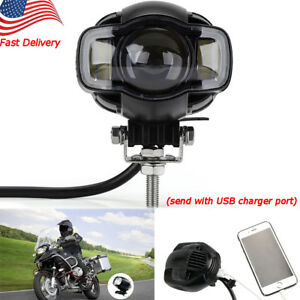 Motorcycle Led Spot Light Driving Fog Lamp Drl White Usb Port Waterproof