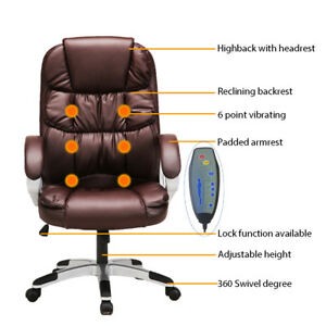 Ergonomic Office Massage Chairs Vibrating Computer Desk Armchairs Brown New