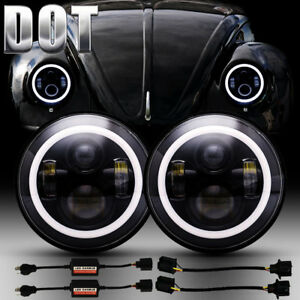 For Vw Beetle Classic Dot 7 Inch Led Headlights Upgrade Hi low Beam Round Kit