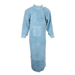 85cm Blue Leather Welding Coat Apron Protective Clothes Apparel For Welder