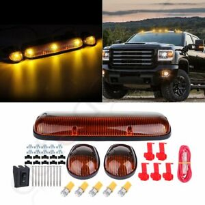 3pcs Amber Cab Roof Marker Lights T10 Amber Led For Chevy Silverado gmc Sierra