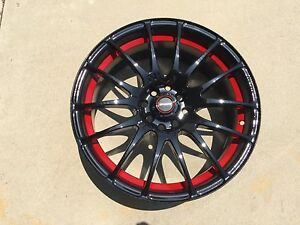 17 Speedy Wheels Lite Fin Black red 17x7 5 4lug 8hole 4x100 4x114 Et 45