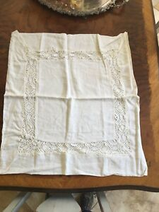 Lovely Antique Linen Embroidered Double Monogrammed French Pillow Sham