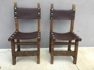 Set Of 2 Vintage Spanish Revival Colonial Leather Carved Wood Chairs