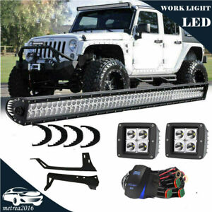 50inch Led Light Bar 2x 18w Pods Mount Bracket Fit For Jeep Wrangler Jk 50