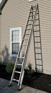 Werner 28 Ft Fiberglass Extension Ladder With Cable Hooks Adjustable Legs