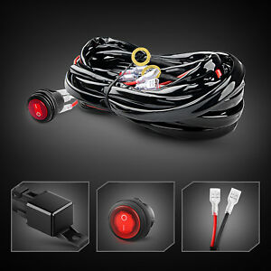 Gooacc 12ft Led Light Bar Wiring Harness Kit 12v Fuse Relay On Off Switch 2 Lead