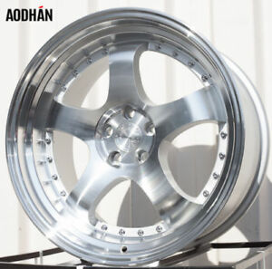 Aodhan Ah03 19x9 5 19x11 22 5x114 3 Silver Machined Lip Staggered set Of 4