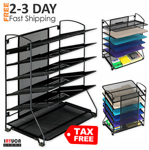Desk Organizer Trays Shelf Sorter Storage Office File Folder Paper Letter Holder