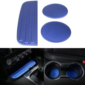 Blue Cup Mat Bottom Holder Pad Cover Decoration Trim For 2015 18 Ford Mustang