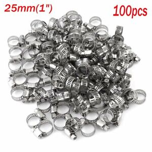 100 X Adjustable Stainless Steel Drive Hose Clamp Fuel Line Worm Clip 25mm 1 X