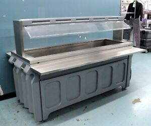Refrigerated Salad Bar Buffet Table With Sneeze Guard Cold Well Buffer