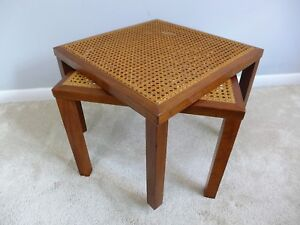 Pair Of Vintage Cane Top End Tables Mid Century Modern Square Stacking Stands