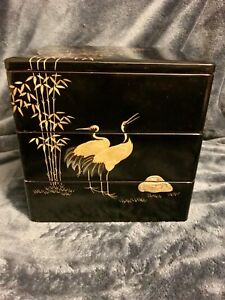 Vtg Japanese Black Lacquered Wood W Gold Leafed Images Jubako Food Boxes