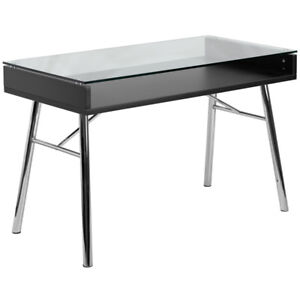 Contemporary Sleek Modern Computer Desk Tempered Glass Black Laminate Finish
