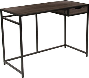 Driftwood Finish Computer Desk With Pull out Drawer Black Metal Frame