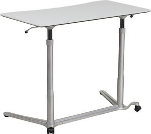 Adjustable Mobile Sit down Stand up Computer Desk In Light Gray W 37 5 w Top