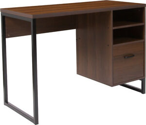 Contemporary Rustic Coffee Wood Grain Finish Computer Desk W black Metal Frame