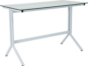 Contemporary Modern Sleek Glass Computer Desk With White Metal Frame