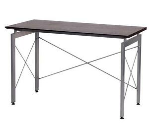Modern Desk In Chocolate Color With Powder Coated Steel Legs Home Or Office