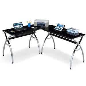 L Shaped Computer Desk With A Black Tempered Glass And Chrome Finish On Frame