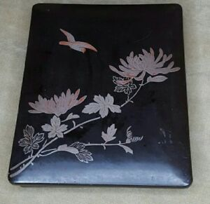 Antique Japanese Lacquer Box Tray Wood Bird Flower