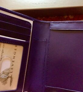 By Levenger Leather International Pocket Briefcase Grape purple New