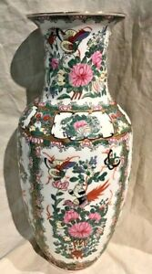 Antique Chinese Export Rose Medallion Vase 14 Tall Signed Excellent Condition