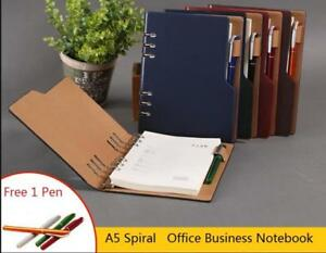 Leather Notebook Business Office A5 Journals Agenda Portfolio Organizer Planner