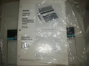 Vintage Sears 10k40 161 53512950 Electric Typewriter Processor With Manual