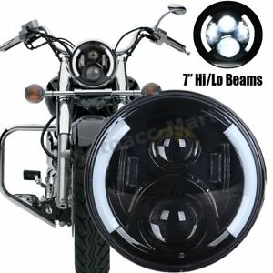 Motorcycle Universal 7 Cree Led Round Headlights Hi Lo Drl For Harley Touring