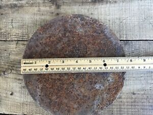 Vtg Cast Iron Stove Lid Cover Weathered Rustic