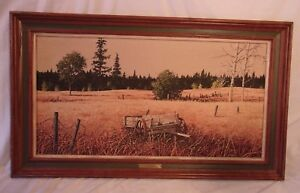 Vintage Mid Century Oak Frame With Print 21x36 Holds 16x31 Molding 3