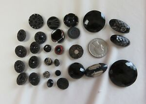 25 Antique Victorian And Vintage Glass Buttons 8 Matching Black Mourning