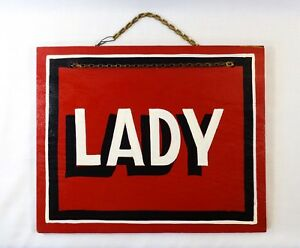 Mid 20th C Vint Lady Black White Hand Painted Wooden Sign Over Red Enamel