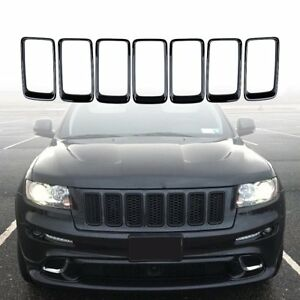 For 2014 16 Jeep Grand Cherokee Grille Grill Cover Inserts Kit 7pcs Glossy Black