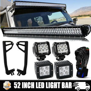 For Jeep Wrangler Jk 52 Inch Led Work Light Bar 4x Pods Cube W Mount Brackets
