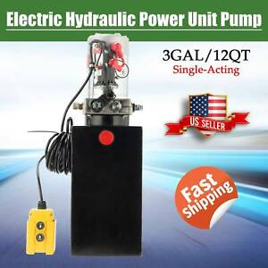 15 Quart Double Acting Hydraulic Pump Dump Trailer 12v Unit Pack Power Unit