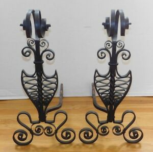 Vtg Rare Large Scale Black Hand Hammered Wrought Iron Scroll Andirons Fireplace