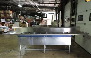 Commercial Stainless Steel 3 compartment Sink W 2 Drainboards And Backsplash
