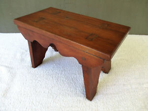 Antique Foot Stool Vtg Primitive Walnut Wood Mortise Tenon 14 Footstool Egs 46